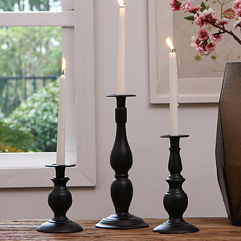 H32cm/23cm/15cm black white Iron Metal Candlestick Pillar