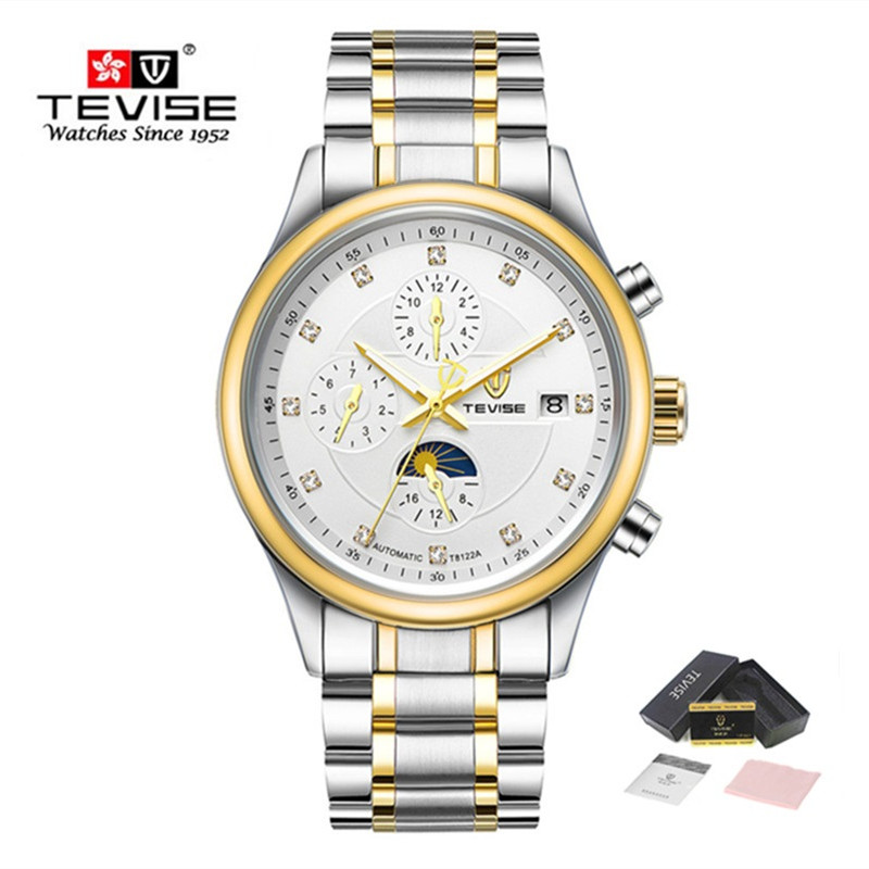 Brand TEVISE Men's Watches Moon Phase Automatic Watch Mechanical Watches Men Fashion Casual Stainless Steel Wristwatch relogio tevise fashion moon phase automatic self wind watches stainless steel luxury gold black watch men mechanical t629b with tool