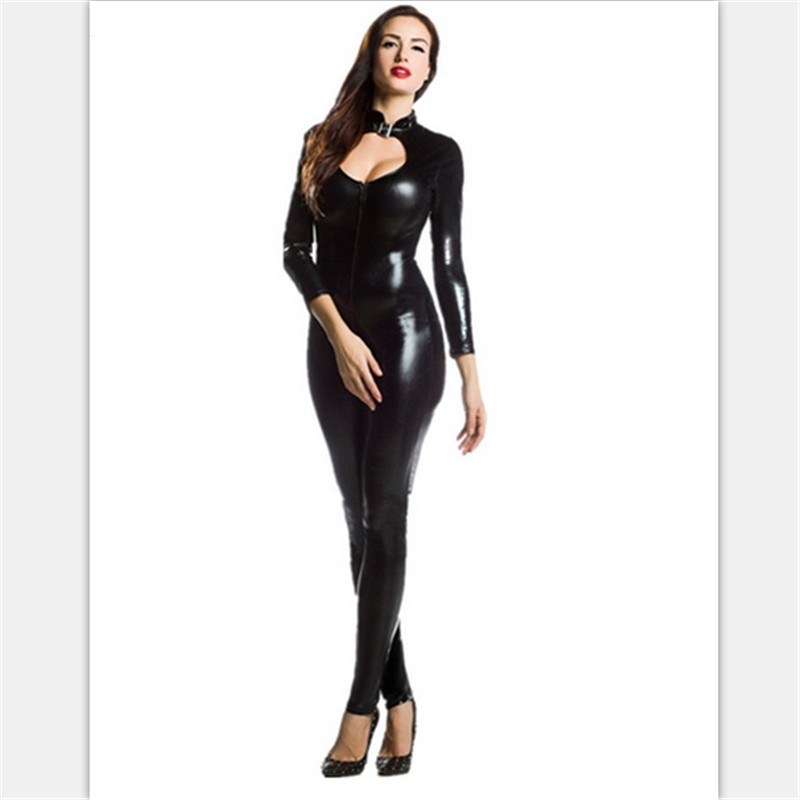 high quality Sexy black Catwoman Costume HalloweenLatex Pvc suit Catsuit GameUniforms Clubwear Bodysuit Glue tights Women Zentai