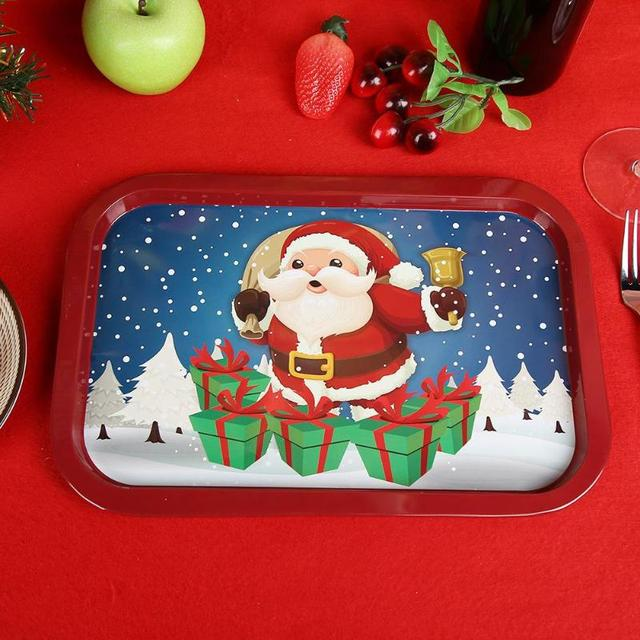 Christmas Dinner In A Tin.Us 7 57 34 Off Aliexpress Com Buy Christmas Pattern Dessert Plate Creative Rectangle Cute Christmas Tin Dish Santa Claus Reindeer Tableware Food