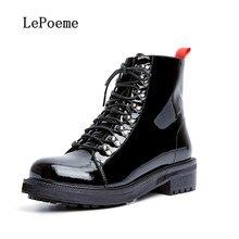 Martens Botas de couro genuíno Outono Inverno Mulher Ankle Boots Couro de Vaca de Alta Qualidade Black Metal Decoração Sapatos Lace-Up 2016(China (Mainland))