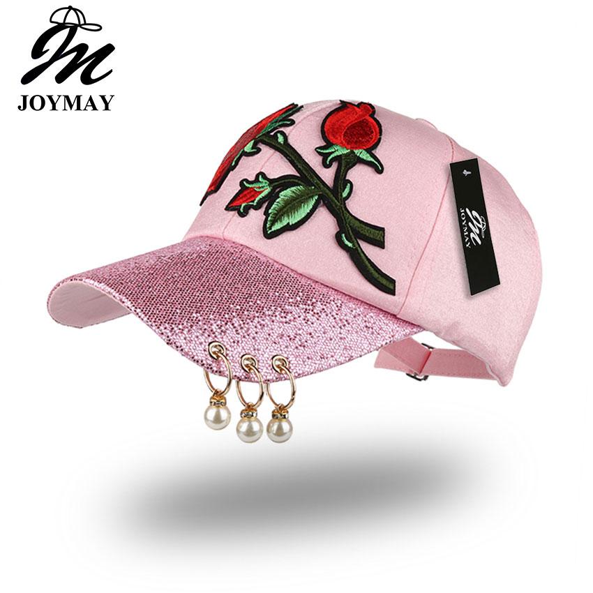 Prix pour Joymay printemps nouvelles femmes de mode casquette de baseball avec fleur rose broderie badge réglable loisirs casual snapback chapeau b433