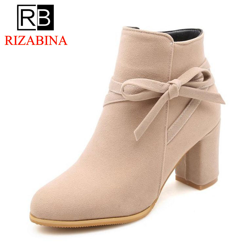 RizaBina Plus Size 33-52 Dropship Boots Woman Winter Warm Shoes Women Ankle Boots Zip Up Chunky Heels Women Booties Footwear