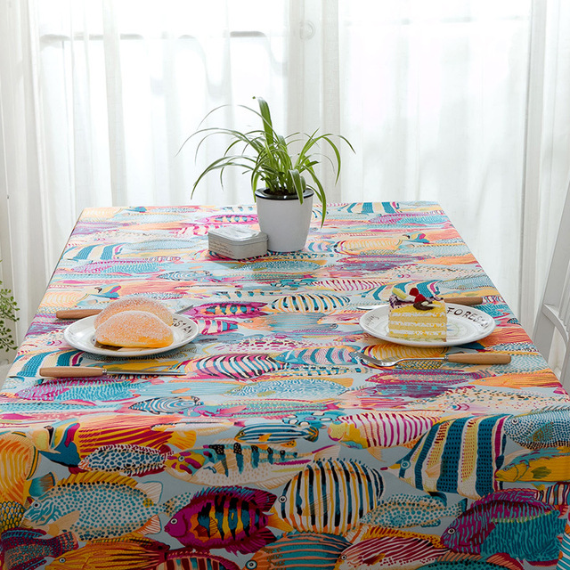 100% Cotton Padded Tablecloth Cartoon Color Tropical Fish Sea Cover Towel  Active Printing Table Cover