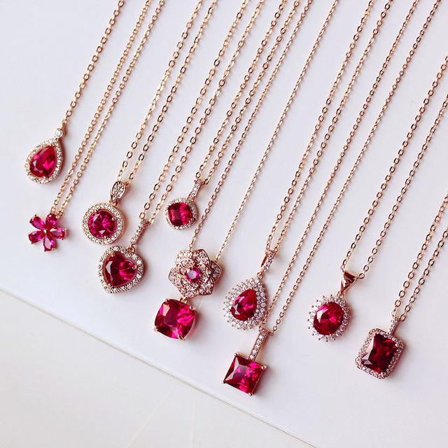 Fashion camellia flower shape square heart oval rectangle pendant fashion camellia flower shape square heart oval rectangle pendant cubic zirconia pink red stone necklace various aloadofball Gallery
