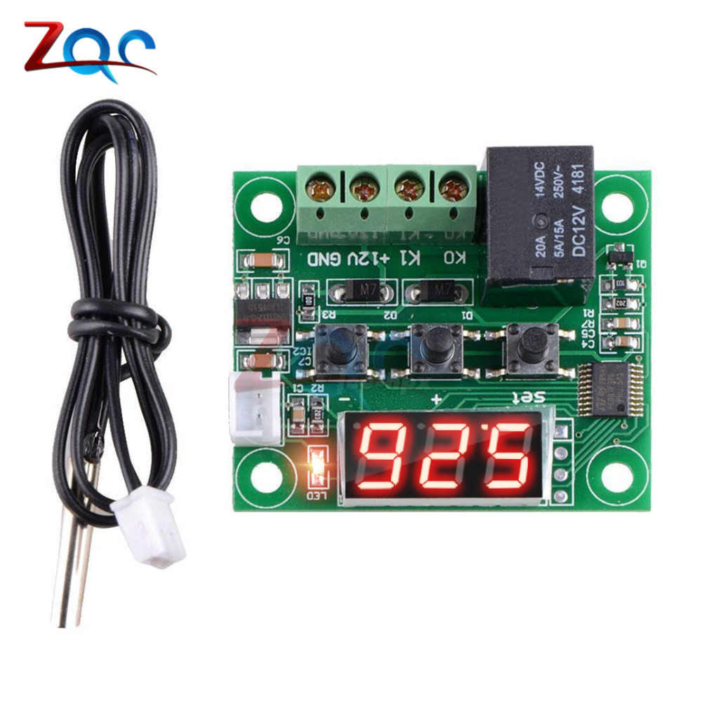W1209 LED Digital Thermostat Suhu Kontrol Thermometer Thermo Controller Switch Modul DC 12V Tahan Air NTC Sensor