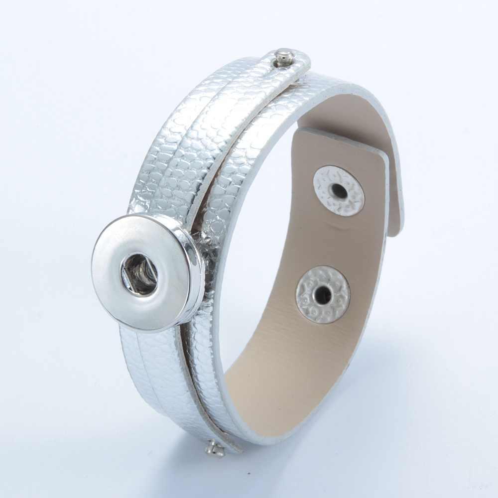 Gorąca sprzedaż 1 sztuk/partia PU pasek ze skóry bransoletka biżuteria 18mm przystawki przycisk bransoletka dla 18mm DIY snap przycisk biżuteryjny SZ0370k-d