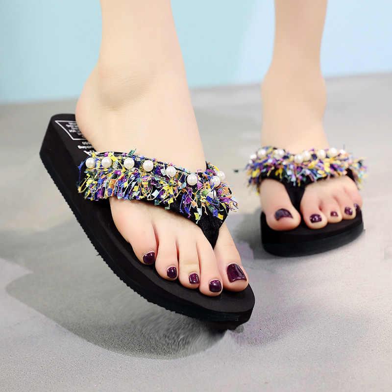 Женская обувь; перламутровые Вьетнамки; женская обувь на высоком каблуке; Легкая летняя пляжная обувь для больших девочек; женские шлепанцы с бахромой в народном стиле