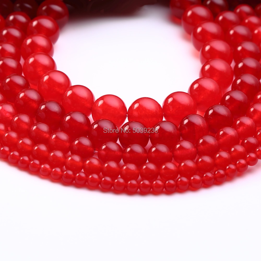 Bulk Wholesale Red Jades Chalcedony Natural Stone Round Loose Beads for Jewelry Making 4 6 8 10 12mm Pick Size DIY Bracelet