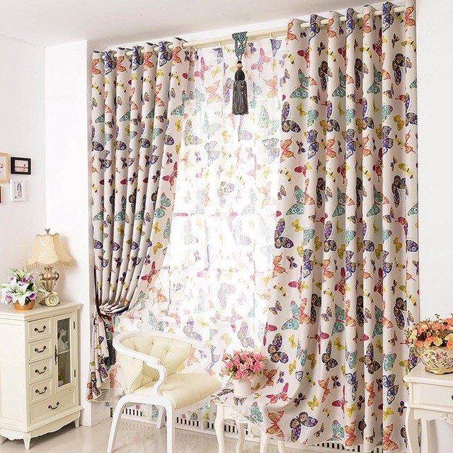 New Kids Butterfly Curtains Girls Curtains For Living Room /Bedroom Window  Curtains Modern Window Tulle