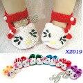 Ручной детские тапочки пинетки крючком вязать новорожденные-большая впервые уокер обувь для новорожденных привет котенок обувь 10 пар/лот XZ019
