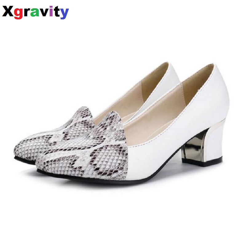 New Lady Pointed Toe Dress Shoes Chunky Ladies Fashion Women Evening Shoes Elegant Genuine Leather Woman Snakeskin Shoes C115 new arrival lady fashion high heel shoes pointed toe dress shoes elegant flower closed toe party summer evening sandals c131