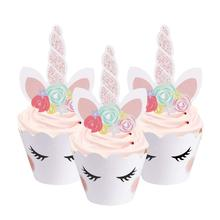 METABLE (24 pack) Unicorn Cupcake Toppers, Decorations Double Sided Wrappers for Birthday and Wedding