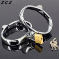 ZCZ Inner diameter 60mm * 78mm,width 20mm Stainless Steel Handcuffs and Feet cuffs Metal Sex Toys Locked Fun Sexy Products WQ769