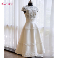 TaooZor Vintage Short Wedding Dresses 2018 Knee Length Tulle Lace Vestidos De Noiva Robe De Mariee