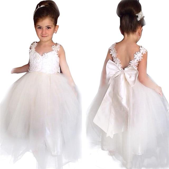 Принцесса Белый Тюль Кружева Туту Бальное платье Длинные Детские Платья 2016 Девушки Первое Причастие День Рождения Платья платье de daminha