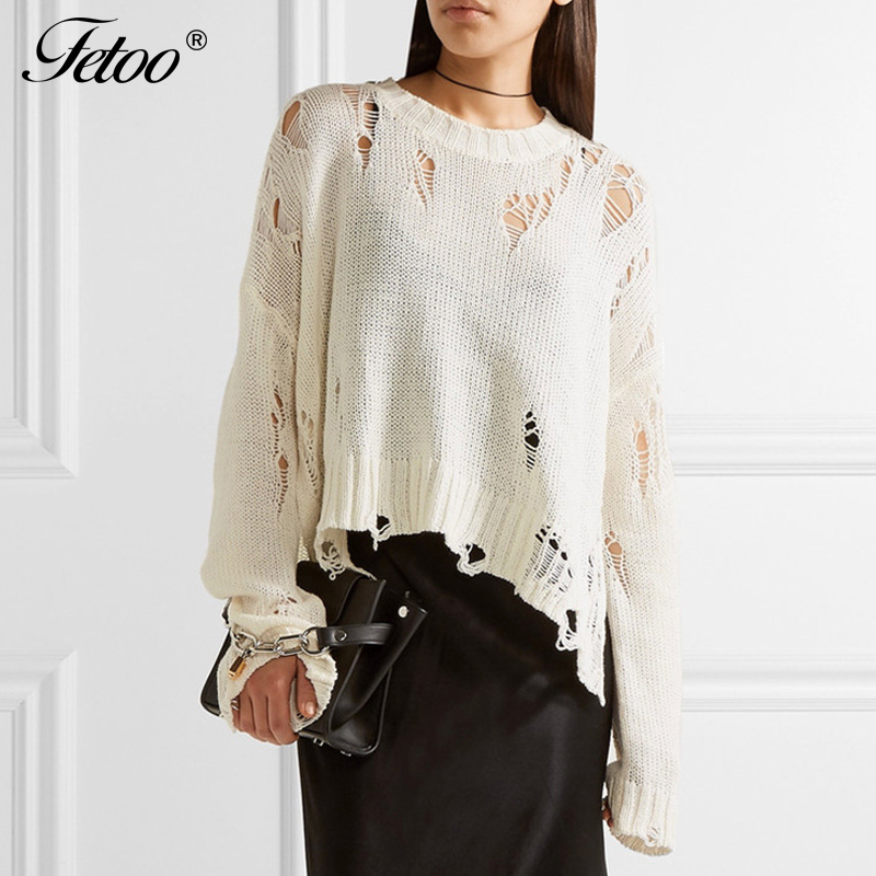Fetoo Thin Fashion Ripped Hole Knitted Pullover Women Sweater Loose Casual High-low Hem Long Sleeve Knitting Sweaters Female