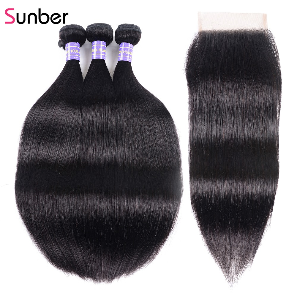 Sunber Hair Malaysian Hair Straight 3 Bundles With Closure Natural Color 100 Remy Human Hair Weave