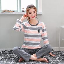 9f9773d4d Pijama Set Mulheres Meninas de Algodão de Manga Comprida T-shirt Calças Set  Pijamas Feminino