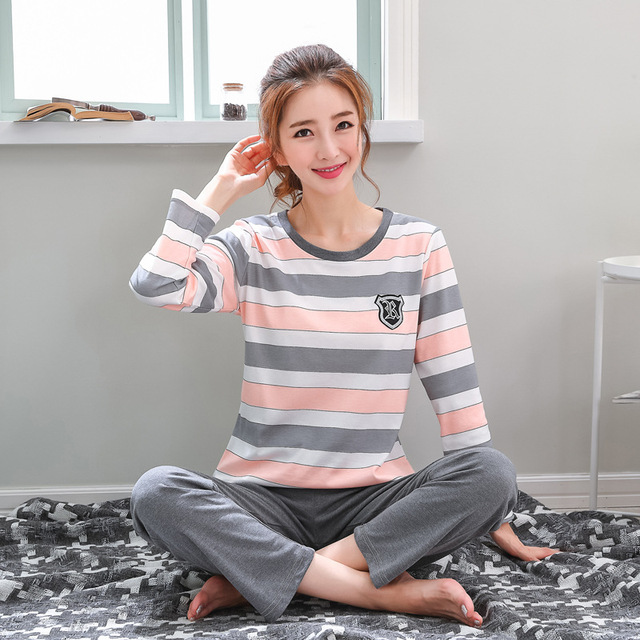 Pajamas Set Women Girls Cotton Long Sleeve T-shirt Pants Set Pijamas Female Spring Autumn Sleepwear Nightgown Pijama Femme M-3XL