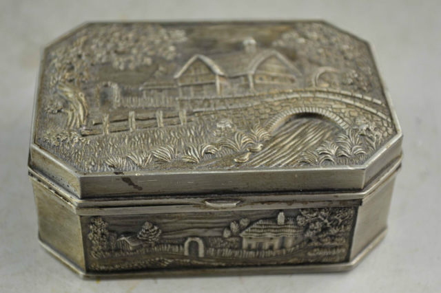Miao Silver Carving Interesting Country Scenery Rare Bring Good Lucky Jewel Box