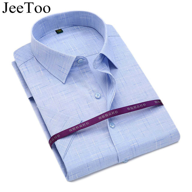 JeeToo Men Shirts Short Sleeve Slim Fit Mens Dress Shirts Summer Cotton Business Shirt Famous Mens Casual Shirts Plus Size 5XL