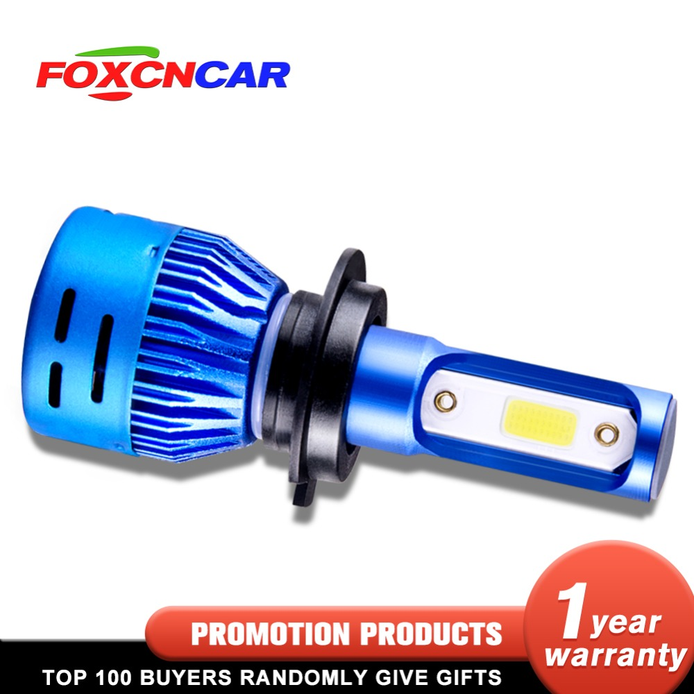 Foxcncar 1PCS 2PCS LED H7 Car Headlight H4 LED H4 H11 H1 H8 9005 H9 HB3 9006 HB4 High Low beam 8000LM 12V Mini 6500K COB 72W 24V 2pcs led headlight 72w kit 16000lm kit h4 high low beam h7 9005 9006 hb4 cob s2 auto car light all in one automobile lamp 6500k