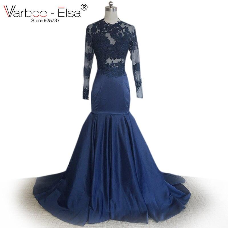 ᗚO-cuello Encaje baile vestido de sirena de manga larga Vestidos de ...