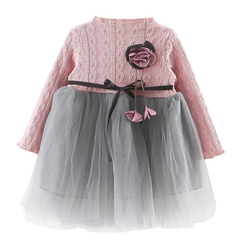 2018 Summer Kids Girls Clothing Tutu Princess Dress Cute Mesh Long Sleeve Dress For Girl
