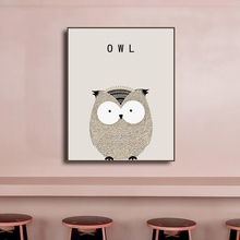 Owl Cartoon Animal Posters and Prints Canvas Painting CalligraphyWall Art Nursery Decorative Picture Nordic Kids Decoration