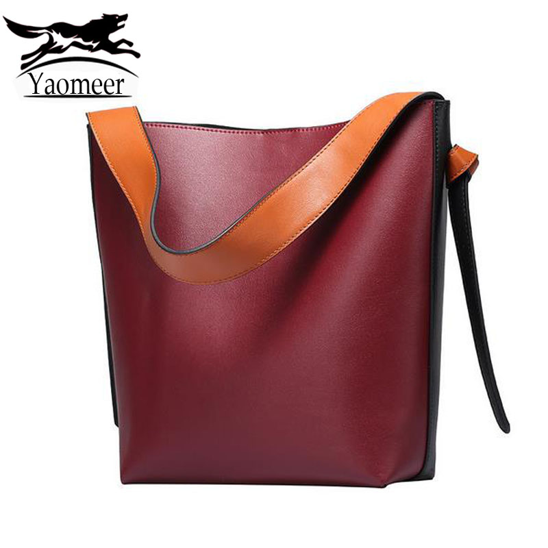 Fashion 100% Genuine Leather Bags Female Shoulder Bucket Bag Designer Handbags High Quality Women Real Cow Tote Bag Famous Brand designer handbags high quality female fashion genuine leather bags handbags women famous brands women handbag shoulder bag tote