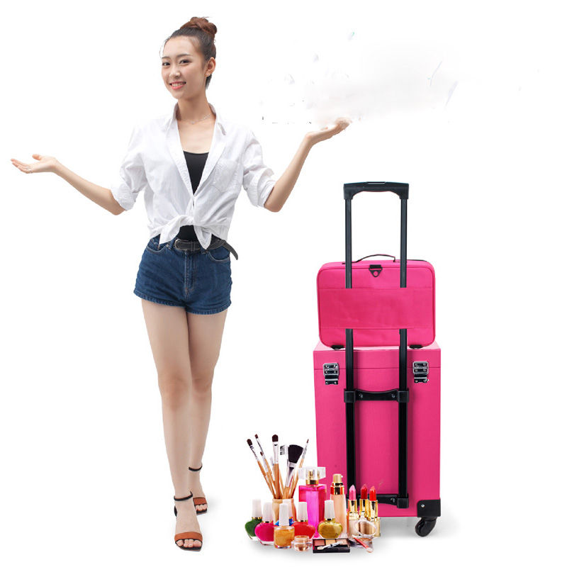 Купить с кэшбэком Hot High Quality Professional Makeup Organizer Travel Large Capacity Storage Bag Suitcases Bolso Mujer Cosmetic Case
