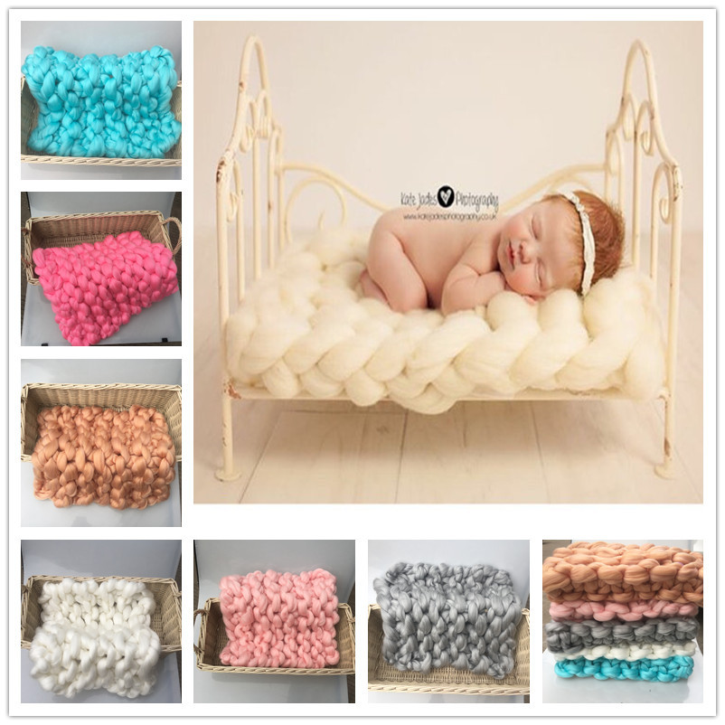 Handmade Baby Photography Blanket Super Thick Wool Chunky Blanket Newborn Basket Filler Newborn Photography Props Accessories