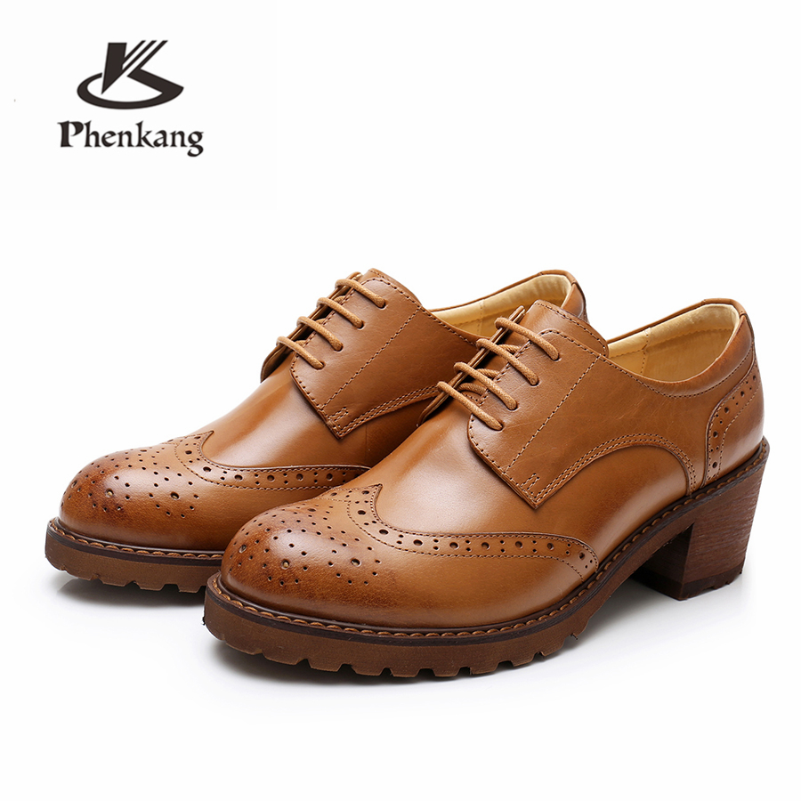 Yinzo Women oxford pumps shoes vintage genuine leather lady Pumps oxford heels shoes for women black brown shoes 2019 spring
