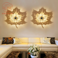 Опавшие листья настенные светильники светодиодные творческий спальня проход бра тень стены светодиодного освещения древесины клена декор