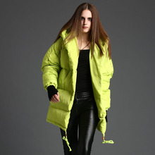 European Grand Prix 2016 winter female thick loose cocoon silhouette white duck down quilt large cap collar long down jacket
