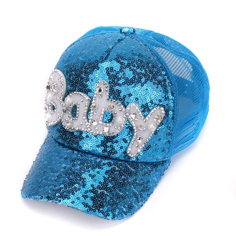 New Real Mesh Cap For Children Gift Baseball Caps Baby Diamond Sequin Sun  Hats ef5b4532c1dd