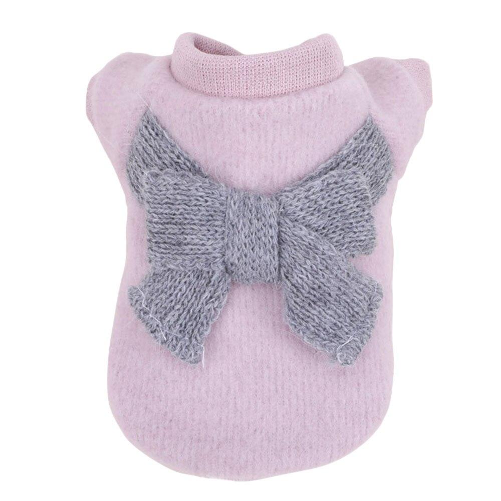 Вязаный свитер костюм свитер для кота с бантом 3 цвета пальто щенок Милая Одежда для собак ropa para perro - Цвет: 2