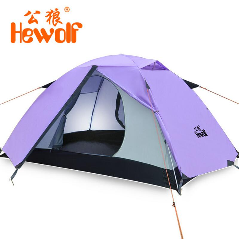Hewolf 1-2 person outdoor camping tent waterproof 4 seasons Hiking Beach tent Double layer Aluminum pole Tents for tourism mobi garden outdoor camping tent 4 seasons double layer aluminum tent two rooms big camping tent super large 3 4 persons tent