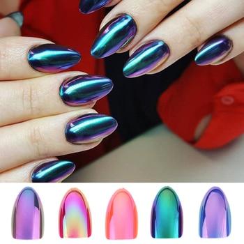 Chrome Nails STILETTO Fake Nail Tips 12pcsBox Metallic False Nail Art Manicure Press on Nails Mirror Look Маникюр