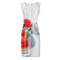Vestidos New Arrivals Summer Dress Fashion Casual Sleeveless Printed Party Dress Elegant Sheath Vintage Women Dress