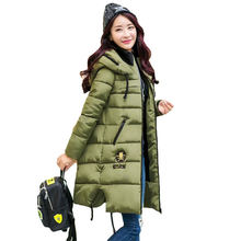 2016 Winter Thicken Women Parkas Women's Wadded Jacket Outerwear Fashion Cotton-padded Jacket Medium-long Coat Army Green SS658
