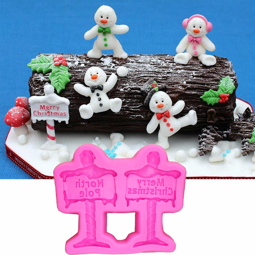 Merry Christmas Fondant Silicone Mold North Pole <font><b>Letter</b></font> form <font><b>Cake</b></font> <font><b>Decorating</b></font> <font><b>Tools</b></font> DIY Chocolate molds Baking Moulds T1085 image