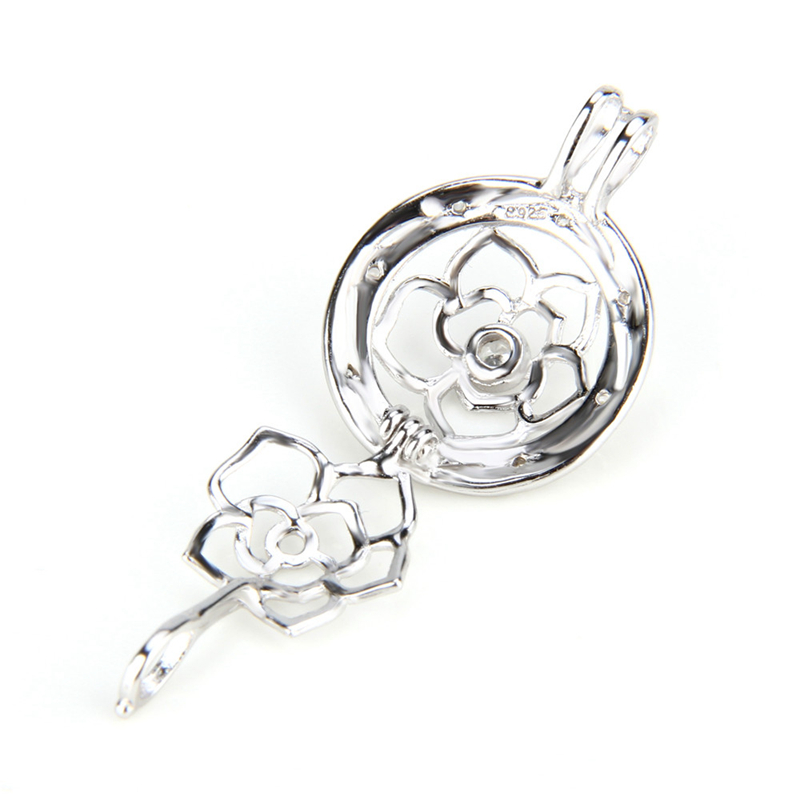 Image 3 - CLUCI 3pcs Flower Ball Shaped Silver 925 Pearl Locket Women 925 Sterling Silver Fine Jewelry Pendant for Necklace-in Pendants from Jewelry & Accessories