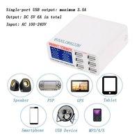 Go2link 5 볼트 2.1A 미국 EU 영국 플러그 6 포트 여러 벽 USB 스마트 충전기 어댑터 휴대 전화 장치 빠른 충전 아이폰 아이 패드