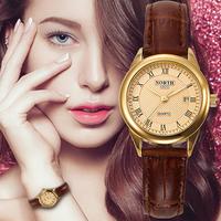 Women Watches Fashion Causual Dress Ladies Business Wristwatches Leather Strap Gold Waterproof Auto Date Round Dial