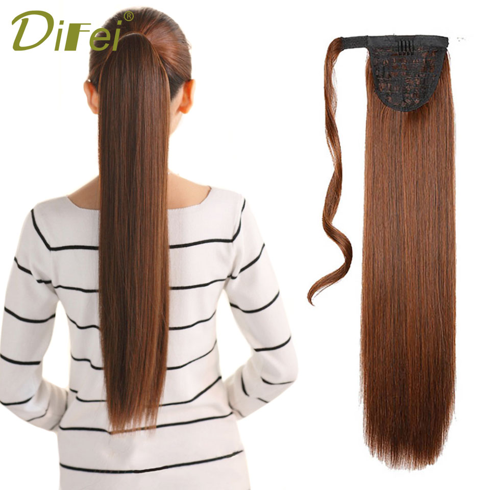 DIFEI 24 '' Lång Straight Clip In Hair Tail False Hair Ponytail - Syntetiskt hår