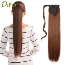 DIFEI 24 '' Lång Straight Clip In Hair Tail False Hair Ponytail Hairpiece With Hairpins Syntetisk Hår Pony Tail Hair Extensions