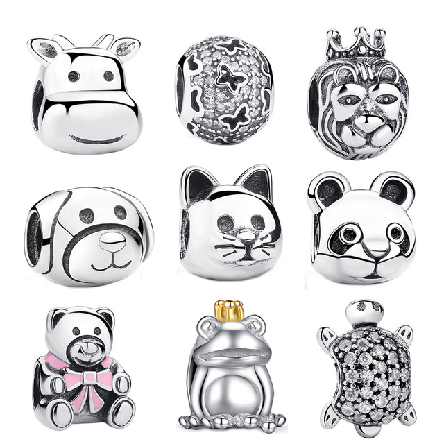 2017 Gift 925 Sterling Silver Lovely Cat Animal Charms Fit Pan