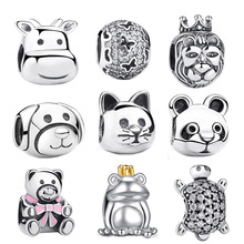 2019 Gift 925 Sterling Silver Lovely Cat Animal Charms Fit Pan Original Charm Bracelets Beads amp Jewelry Making S053